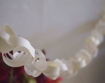 32ft / 10m long paper garland White Clear curl decoration for party and wedding decorating