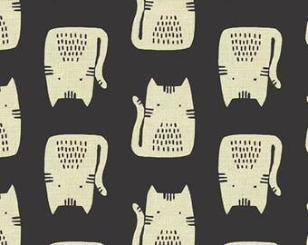 Cats - Black - Maker Maker - Sarah Golden - Andover Fabrics -  COTTON/LINEN -- 100% Quilters Cotton ALN8454K