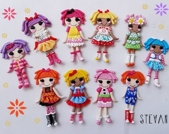 Pack of 10 pieces of lalaloopsy dolls to paste. In polymer clay