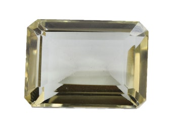22.60 Cts Emerald Cut Light Green Quartz (Hydro) Gemstone