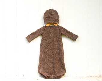 Newborn Gown and Hat Set - Mocha Brown Heathered Hemp Organic Cotton Jersey - Organic Baby - Gender Neutral - Eco Friendly Clothing