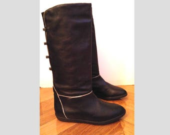Boots black leather, solid sole - boots-flat size 36 - vintage 1970's - RB