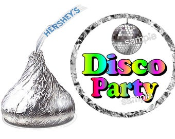 216 ~ 70's DISCO Birthday Party Hershey Kiss Kisses stickers Labels ~ Free Shipping