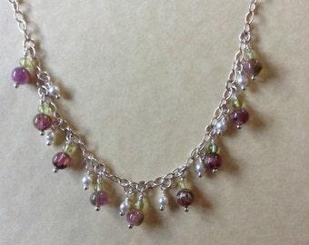 Pink Tourmaline and Peridot Necklace