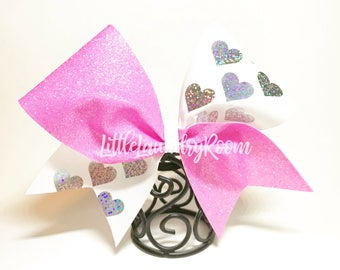 Custom Cheer Bow / Sports Bow / Valentines Bow / Wedding Bow / Stagette Bow / Gradutaion / Glitter Bow / Hearts Bow / Holographic