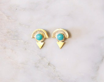 EG Isis Earrings Brass and Amazonite Earrings, Egyptian Jewelry, Gold Earrings, Brass Jewelry