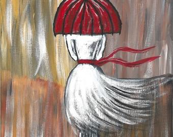 Girl Caught In Rain Acrylic Painting - Print