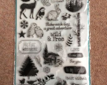 Stamps, winter woodland, owls, rabbit, squirrel, trees, free post UK