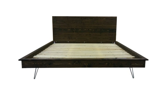 Platform Bed, Hairpin Leg Bed, Hairpin Legs, Industrial Bed, Hair Pin Bed  Frame, Low Profile Bed, Wood Bed, Industrial Modern Bed, Guest Bed