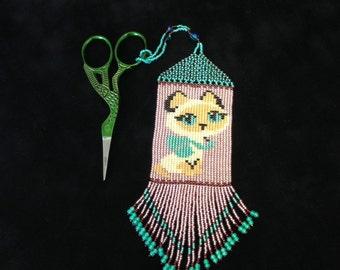 Beaded Scissor Fob kitty desigh Dangle...stork scissors...Scissor Fob...Beaded needlework scissor fob...sewing accessory...Swarovski cry