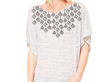 Floral lace tee, women's tee, modern floral, black and white, pretty top, casual top, dolman, flowy tee