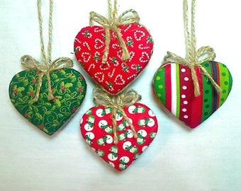 Christmas Heart Ornaments   Tree Ornament   Party Favor   Holidays   Fabric Heart   Handmade Ornament   Primitive Folk Art   Set/4   #1