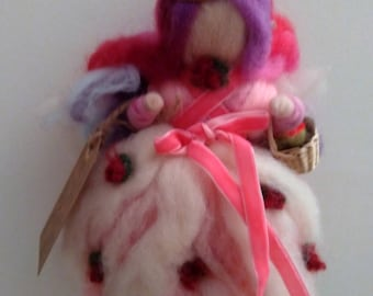 Carded wool fairy, pink and fuchsia, inspired by Waldorf pedagogy