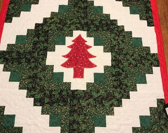 "New Christmas Quilt, Table topper, 33"" Square, Christmas Tree"