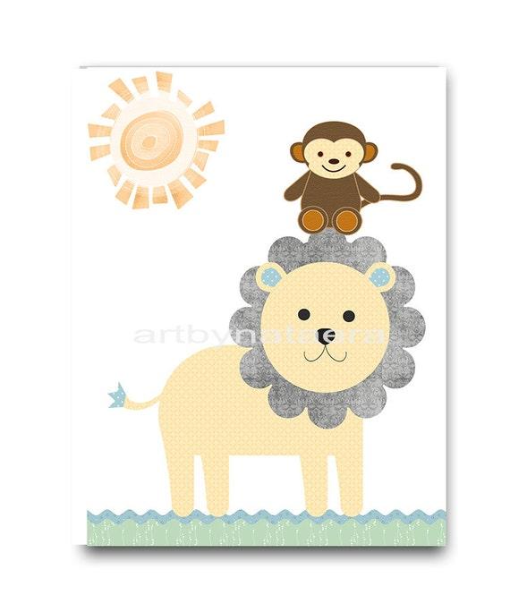 Kids Wall Decor Playroom Art Lion Nursery Decor Baby Boy
