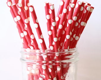 Red Party Straws, Paper Straws 25, Wedding Bar Straws, Carnival Party, Circus Party, Rustic Wedding, Mason Jar Straws, Retro Straws