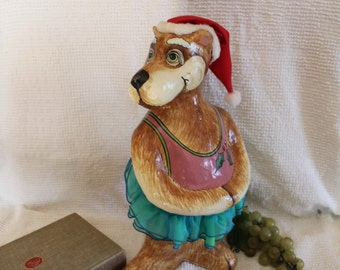 Silvestri Celebrations Audrey Heffner Paper Mache Dog Statue with Santa Claus Hat and Turquoise TuTu