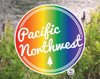 Limited Edition - PNW Retro Script Pride Month Edition Sticker - The Perfect Addition for Your HydroFlask