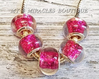 Fuchsia Large Hole Glass Beads - GLITTER Sparkle - Hot Pink European Style Charms - Wholesale Bulk Lot - fits DIY Bracelets - Jewelry Gift