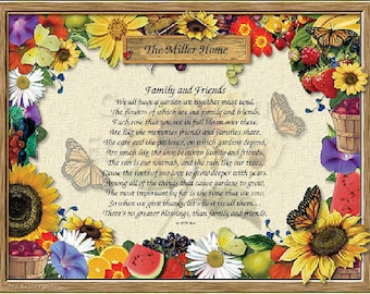 Personalized Garden Print with Family and Friends Poem
