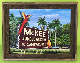 old McKee Jungle Gardens Entrance Giclee Canvas Print from Oil Painting  by Buddy Brown
