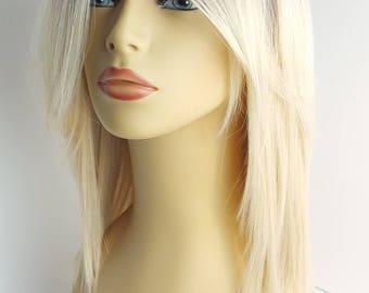 Shoulder Length Ombre Light Blonde Wig, Two Tone Mixed Color Wig, Ombre Light Blonde Wig with Long Bangs, Two Tone Blonde Wig, Blonde Wig