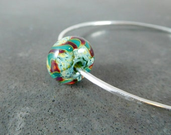 Bangle Bracelet, Sterling Silver & Glass Bracelet, Simple Bracelet Green Red Yellow Lampwork, Hammered Silver Bracelet, Stacking Bracelet