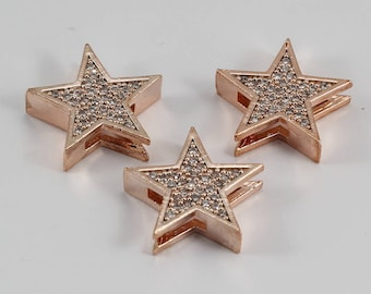 2 Pcs Micro Star Beads, Rose Gold Plated, Micro Pave Star Beads, Bracelet Connectors, CZ Space Bead, Cz Pave Women Bracelet, MMT83