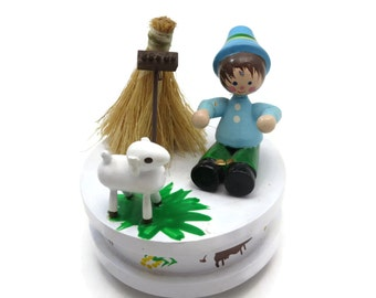 Wood Music Box - Little Boy Blue, Wood Diorama Scene, Nursery Rhyme