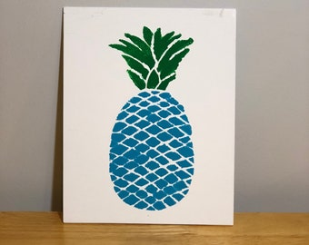 Original painting- Blue Pineapple