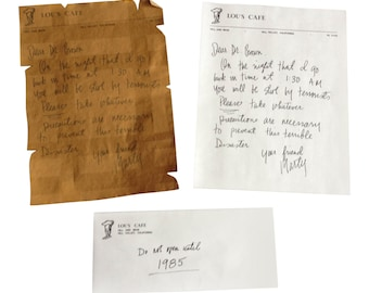 Back To The Future Marty McFly Vintage Letter To Doc Brown
