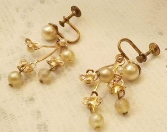 50's Vintage Brass Pearl Drop Dangle Screw Back Earrings