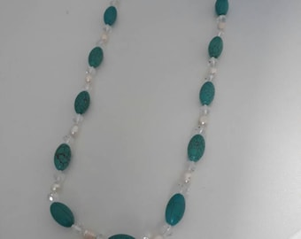 Turquoise and Freshwater Pearl long necklace