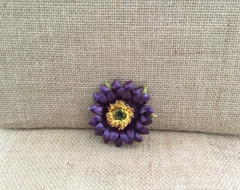 Leather Flower Brooch (Purple Daisy) - bridesmaid, wedding, mother of the bride brooch
