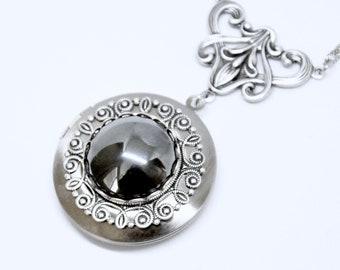 Hematite Locket Necklace, Antique Silver Hematite Necklace, Art Deco Locket, Hematite Jewelry, Art Nouveau Style, Dark Grey Stone Locket