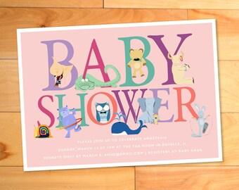 Baby Shower Invitation, Animals, Alphabet, Whale, Owl, Elephant, Zoo, Girly, Chic, Typography, ABCs, Custom Baby Shower Invitation