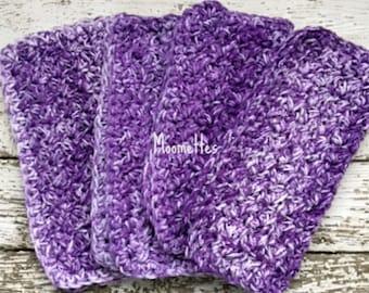 Dishcloth Set Handmade Kitchen Crochet Dish Cloths Violet Purple Crochet Washcloth Eco Friendly Cotton Dishcloths Set of 4