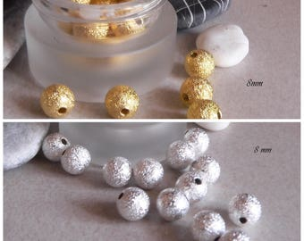 25 8 mm metal color gold or silver stardust beads