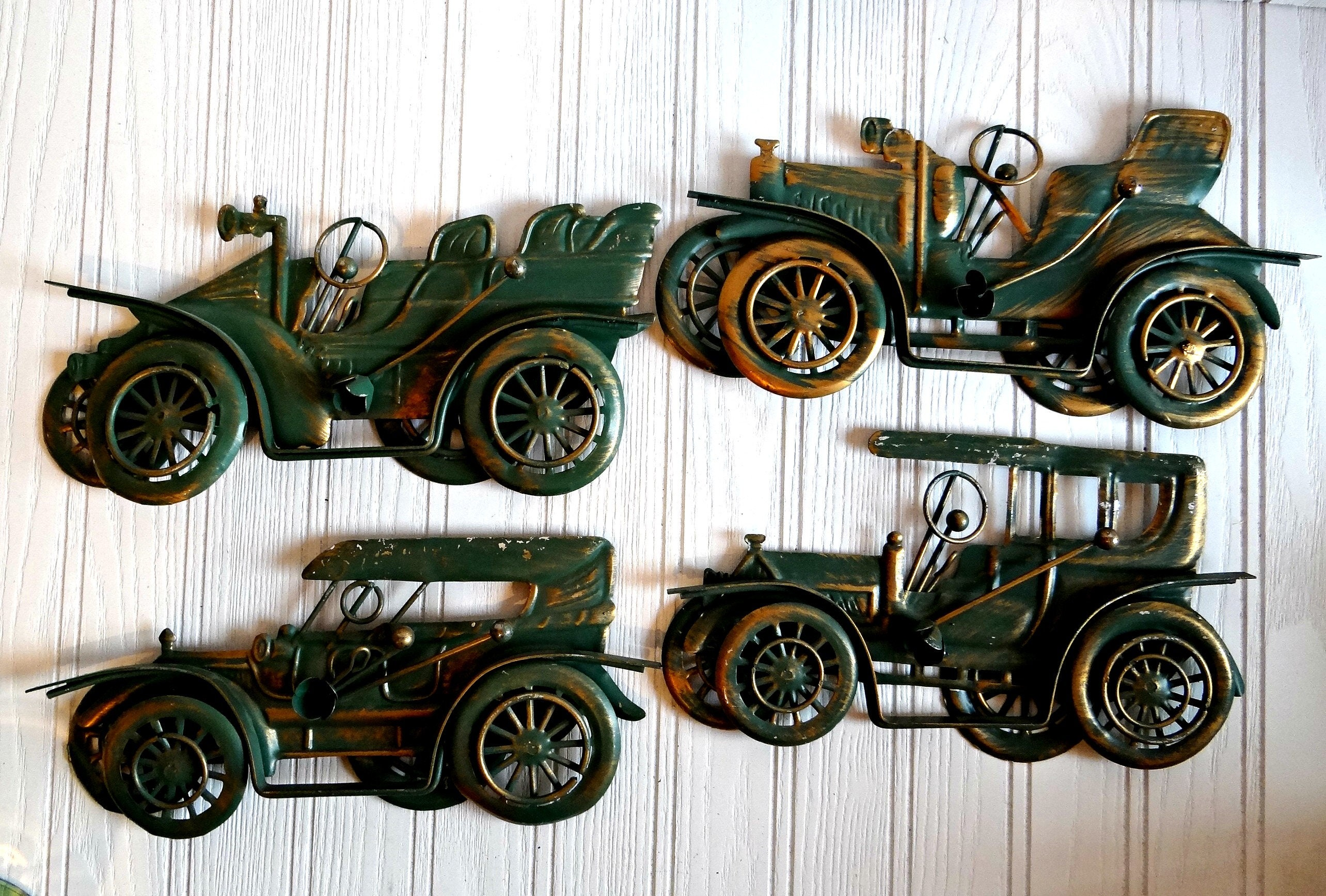 Four Vintage Steel Cut Painted Car Wall Plaques 1960s Old