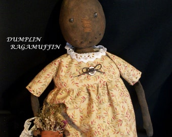 PATTERN, Primitive black pumpkin doll, hand made, folk art original by Dumplinragamuffin