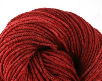 Hand Dyed Aran weight mini Empire Rambouillet Wool 213 yds 4oz Cerise