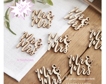 Mr and Mrs confetti, wood confetti, wedding table decorations, rustic wedding, wooden, woodland decor, natural, neutral, reception