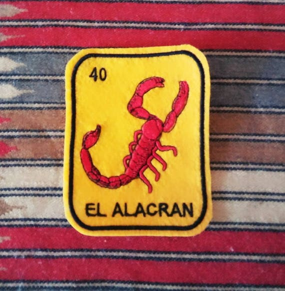 El Alacran  Loteria Patch  Iron On Scorpion
