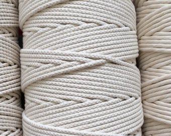 3mm braided natural cotton cord / Cotton rope 3mm / Macrame rope / multiple lengtes 20m , 200m, 250m / diy planthanger rope / diy macrame