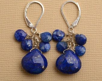 Blue Lapis Earrings, Lapis Lazuli Earrings, Gemstone Dangle Earrings, Healing Gemstone Jewelry, December Birthstone Earrings