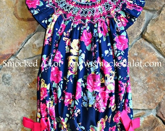 Girls Smocked Bubble- Navy Pink Floral Rose Fabric by Smocked A Lot Birthday Vintage Ties Bows