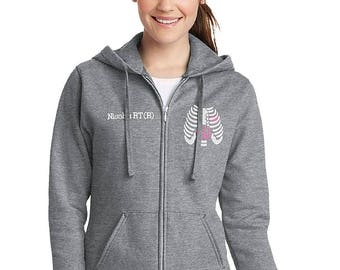 Ladies Radiology Chest Xray Monogram Full Zip Hooded Sweatshirt-- zip up ladies sweatshirt jacket with several font and color options