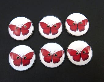 6 Red Butterfly Buttons for Sewing.  Choose Your Size.   Washer and Dryer Safe.  Handmade Buttons.