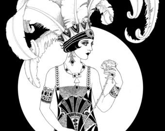 Deco Flapper Art Print
