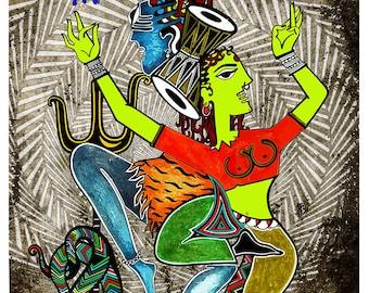 Shiva Parvati Dance Art- Indian Art Canvas Poster-Shiva Canvas Print-Indian Goddess-State Of Trance-Shiva Shakti-Indian Dance Canvas Poster